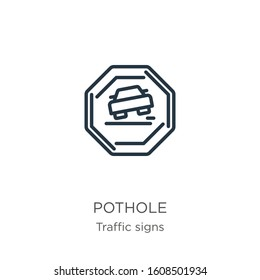 Pothole icon. Thin linear pothole outline icon isolated on white background from traffic signs collection. Line vector sign, symbol for web and mobile