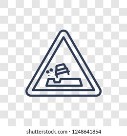 Pothole sign icon. Trendy linear Pothole sign logo concept on transparent background from Traffic Signs collection