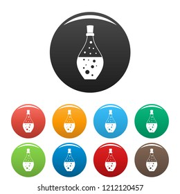 Potion aroma bottle icons set 9 color vector isolated on white for any design