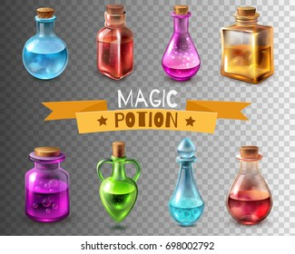 Potion bottle transparent set of isolated magic glass tube images of different colour and shape vector illustration