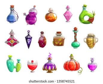 Potion bottles vector icons of witch magic elixir or alchemist poison. Evil wizard glass jars and magician flasks with colorful liquid, creepy skull tags and corks. Magical drink, Halloween design