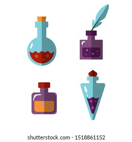 Potion bottles vector icons of witch magic elixir or alchemist poison. Evil wizard glass jars and magician flasks. Drinks of alchemy or chemistry illustration set of magnificent elixir in phial
