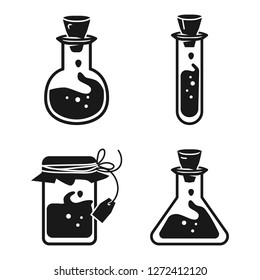 Potion icon set. Simple set of potion vector icons for web design on white background