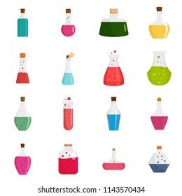 Potion magic bottle icons set. Flat illustration of 16 potion magic bottle vector icons isolated on white