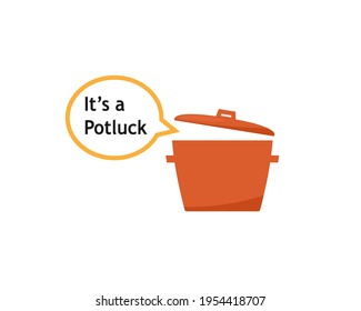 Potluck with speech bubble icon. Clipart image isolated on white background