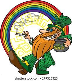 Pot-o-Gold A cool cartoon Leprechaun with his pot of gold man. Layered vector file available.