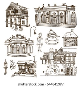 Potsdam and Ruinenberg  (Germany).  Vector sketch town. Hand drawn building, fountain, lantern. The building, stylized as a medieval manor in rural England.