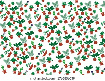 potted cactas plant pattern background