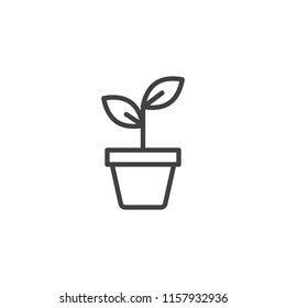 Potted plant outline icon. linear style sign for mobile concept and web design. Plant in pot simple line vector icon. Symbol, logo illustration. Pixel perfect vector graphics