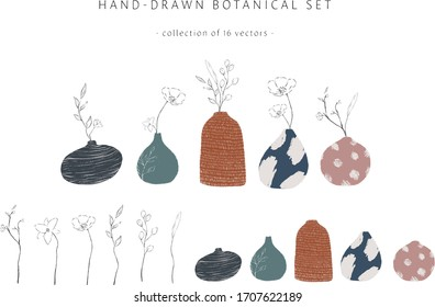 Potted plants collection of hand- drawn modern pottery leaf and flowers. Set of 16 vector elements. Wall art, greeting card, home decor, gift