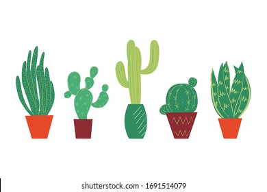 Potted plants collection. House plants. Hand drawn vector art. Set of  vector house indoor plant