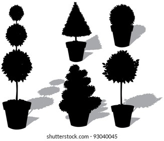 Potted Topiary Silhouette Collection EPS 8 vector, grouped for easy editing No open shapes or paths.