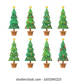 Potted vector material of green Christmas tree