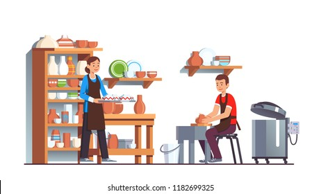 Potter and assistant working on molding wheel in small hobby business pottery production with modern kiln making bowls, plates & vases. Potter artist man making clay crockery. Flat vector illustration
