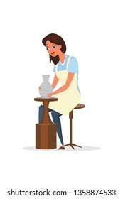 Potter, ceramist flat color vector illustration. Happy woman in apron sitting on chair cartoon character. Artisan girl working with pottery wheel. Lady making handmade vase. Handcraft workshop, school