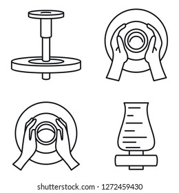 Potters wheel icon set. Outline set of potters wheel vector icons for web design isolated on white background