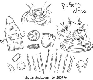 Pottery class. Tools and instruments for pottery making, potter's wheel