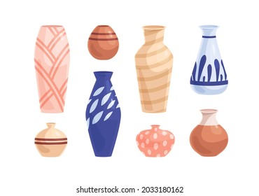 Pottery and earthenware set. Crockery objects of different shapes, sizes and colors. Modern ceramic, clay and porcelain vases and pots collection. Flat vector illustration isolated on white background