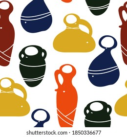 Pottery, flat colored varied shapes of ceramic vases on a white background. Seamless pattern in children's style, graphic print for fabric and textile, earthenware workshop, craft fair.