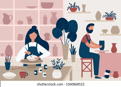 Pottery hobby. Handcrafted earthenware, people decorating pots and handicraft pottery workshop. Ceramic craft master, ceramics pottery artist or pot craftsman workshop flat vector illustration