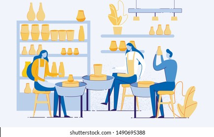 Pottery Hobby or Profession Flat Cartoon Vector Illustration. Handicrafted Earthenware, Man and Woman Creating Pots and Pottery Workshop. Ceramic Craft Masters, Artist. Shelves with Vases.