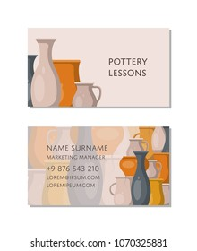 Pottery lessons business card template with traditional clay ceramics. Create handmade pottery in workshop advertising. Corporate identity retro design for pottery master classes vector illustration.