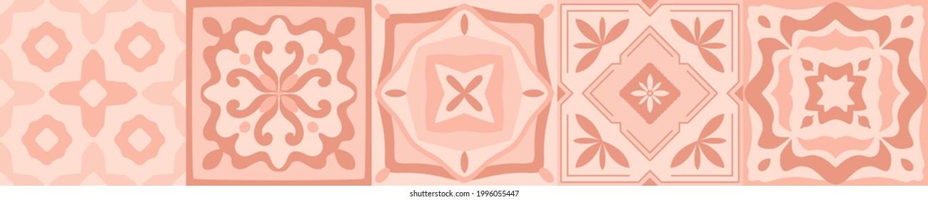 Pottery majolica tile pattern. Ceramic art. Mediterranean Italian, Spanish geometric print for floor, kitchen, textile. Design of ornaments.  Mexican talavera, portuguese, moroccan decor.