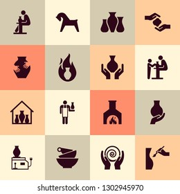 Pottery wheel, potter, clay horse, and other ceramic products in the icon set in flat style.