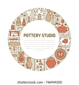 Pottery workshop, ceramics classes banner illustration. Vector line icon of clay studio tools. Hand building, sculpturing equipment. Art shop circle template with place for text.