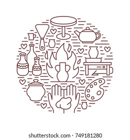 Pottery workshop, ceramics classes banner illustration. Vector line icon of clay studio tools. Hand building, sculpturing equipment. Art shop circle template.