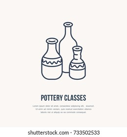 Pottery workshop, ceramics classes line icon. Clay studio tools sign. Hand building, sculpturing equipment shop sign. Illustration of ceramic vases.