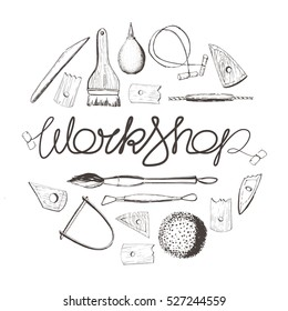Pottery workshop. Tools for sculpting working, clay and pottery wheel. Hand drawing, doodling. Vector illustration, izolate.