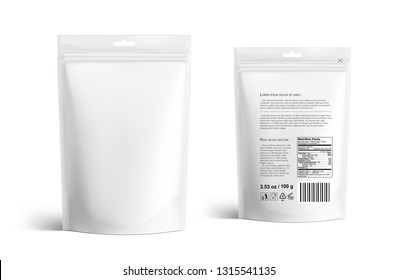 Pouch bags mockup isolated on white background. Vector illustration. Front and rear views. Can be use for template your design, presentation, promo, ad. EPS10.