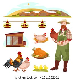 Poultry farm fowl, equipment and farmer, isolated on white background. Vector flat cartoon illustration. Hen, rooster and little chicken design elements.