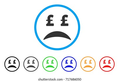 Pound Bankrupt Sad Emotion rounded icon. Style is a flat pound bankrupt sad emotion grey symbol inside light blue circle with black, gray, green, blue, red, orange color versions.