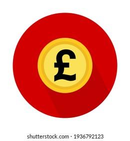 Pound coin icon, money bank flat design, finance symbol for web, logo, app vector illustration .