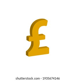 Pound currency 3d style isolated on white background. Vector illustration