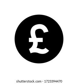 pound currency coin black for icon isolated on white, pound money for app symbol, simple flat pound money, currency digital pound coin for financial concept, vector