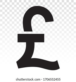 Pound currency sign or British pound sterling symbol on a transparent background