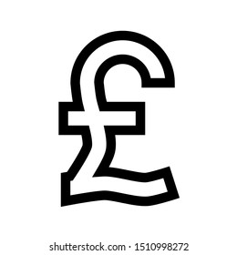 Pound currency sign symbol - black simple outline, isolated - vector illustration