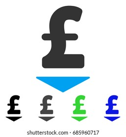 Pound Down flat vector illustration. Colored pound down gray, black, blue, green pictogram variants. Flat icon style for web design.