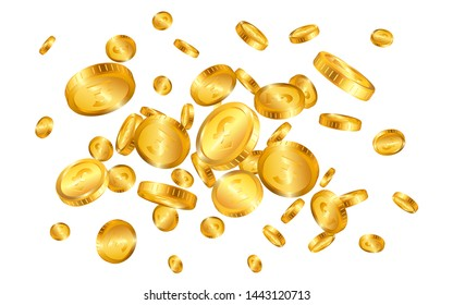 Pound gold coins explosion isolated on white background. Vector illustration.