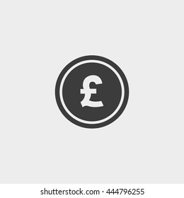 Pound icon in a flat design in black color. Vector illustration eps10