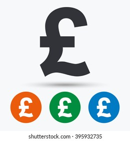 Pound icon. GBP currency symbol. Money label. Flat signs in circles. Round buttons for web. Vector