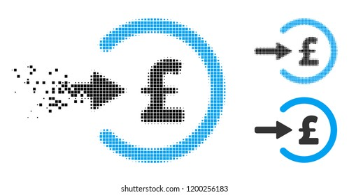 Pound income icon in disappearing, pixelated halftone and undamaged solid versions. Points are arranged into vector disappearing pound income symbol. Disappearing effect uses rectangular points.