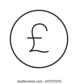 Pound linear icon. Thin line illustration. Great Britain national currency contour symbol. Vector isolated outline drawing