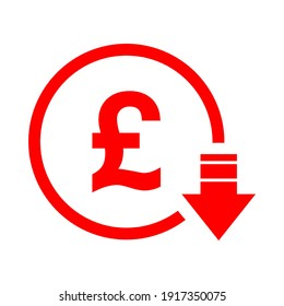 Pound reduction symbol, cost decrease icon. Reduce debt bussiness sign vector illustration