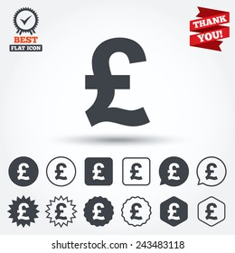 Pound sign icon. GBP currency symbol. Money label. Circle, star, speech bubble and square buttons. Award medal with check mark. Thank you ribbon. Vector