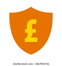 Pound sign with Shield icon. Protection emblem. GBP currency - banking illustration isolated