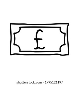 Pound sterling coin money logo icon sign emblem symbol Hand drawn Modern doodle cartoon design style Fashion print clothes apparel greeting invitation card economical banner badge poster flyer website